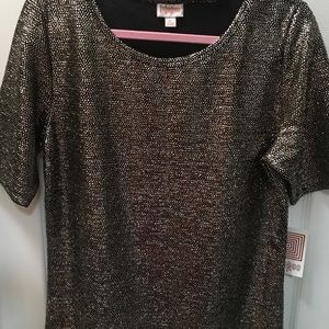 Lularoe Gigi XL black bkgrnd silver dots